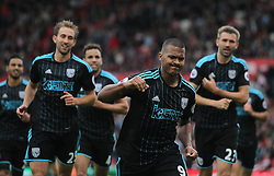 Jose Salomon Rondon of West Bromwich Albion (C) celebrates scoring his sides first goal - Mandatory by-line: Jack Phillips/JMP - 24/09/2016 - FOOTBALL - Bet365 Stadium - Stoke-on-Trent, England - Stoke City v West Bromwich Albion - Premier League