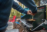 Camping at the Kintla Lake area of Glacier National Park Montana.