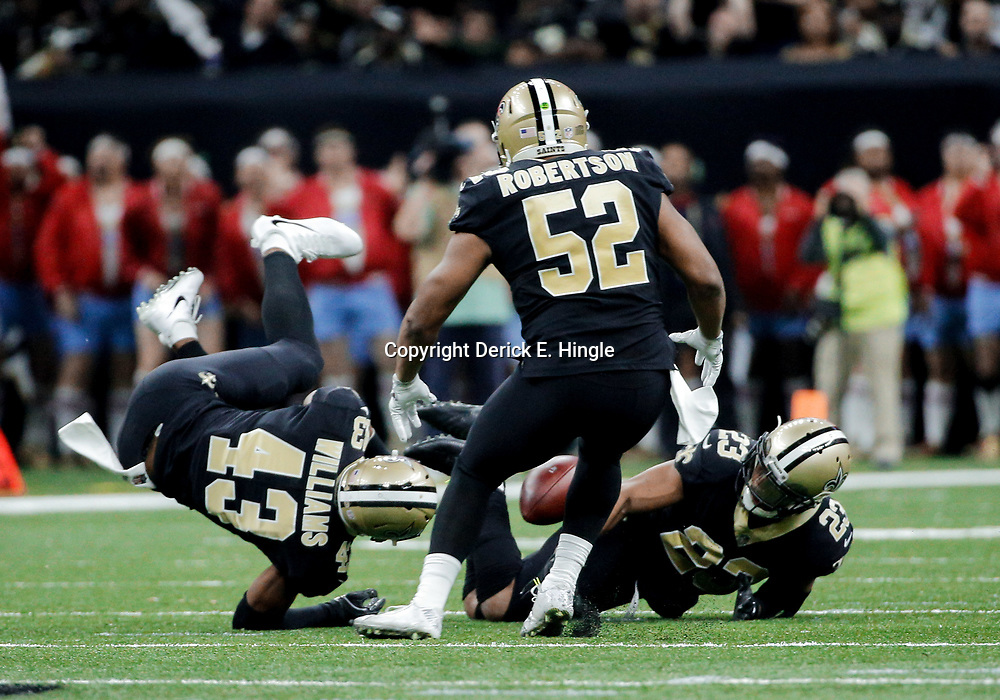 Dec 24, 2017; New Orleans, LA, USA; New Orleans Saints cornerback Marshon Lattimore (23) intercepts a pass against the Atlanta Falcons during the second quarter at the Mercedes-Benz Superdome. Mandatory Credit: Derick E. Hingle-USA TODAY Sports
