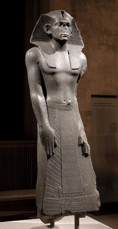 Praying statue of king Amenemhet 111 Middle Kingdom, 12th Dynasty around 1840-1800 BC Memphis dolerite.