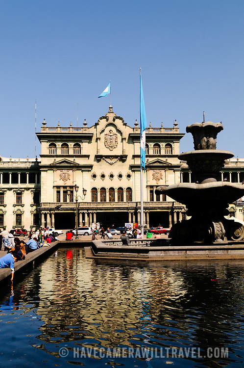 The fountain in front of the National Palace of Culture on the northern end of Parque Central (officially the Plaza de la Constitucion) in the center of Guatemala City, Guatemala.