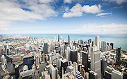 Aerial view of Chicago skyline featuring unique view of commercial real estate in downtown