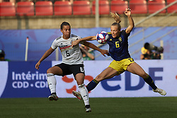 June 29, 2019 - Rennes, France - Lena Oberdorf (Sgs Essen) of Germany and Magdalena Eriksson (Chelsea FCW) of Sweden battle for the ball during the 2019 FIFA Women's World Cup France Quarter Final match between Germany and Sweden at Roazhon Park on June 29, 2019 in Rennes, France. (Credit Image: © Jose Breton/NurPhoto via ZUMA Press)
