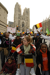 BRUSSELS, BELGIUM - APRIL-21-2006 - Asylum seekers without legal papers demonstrate in Brussels. (PHOTO © JOCK FISTICK)