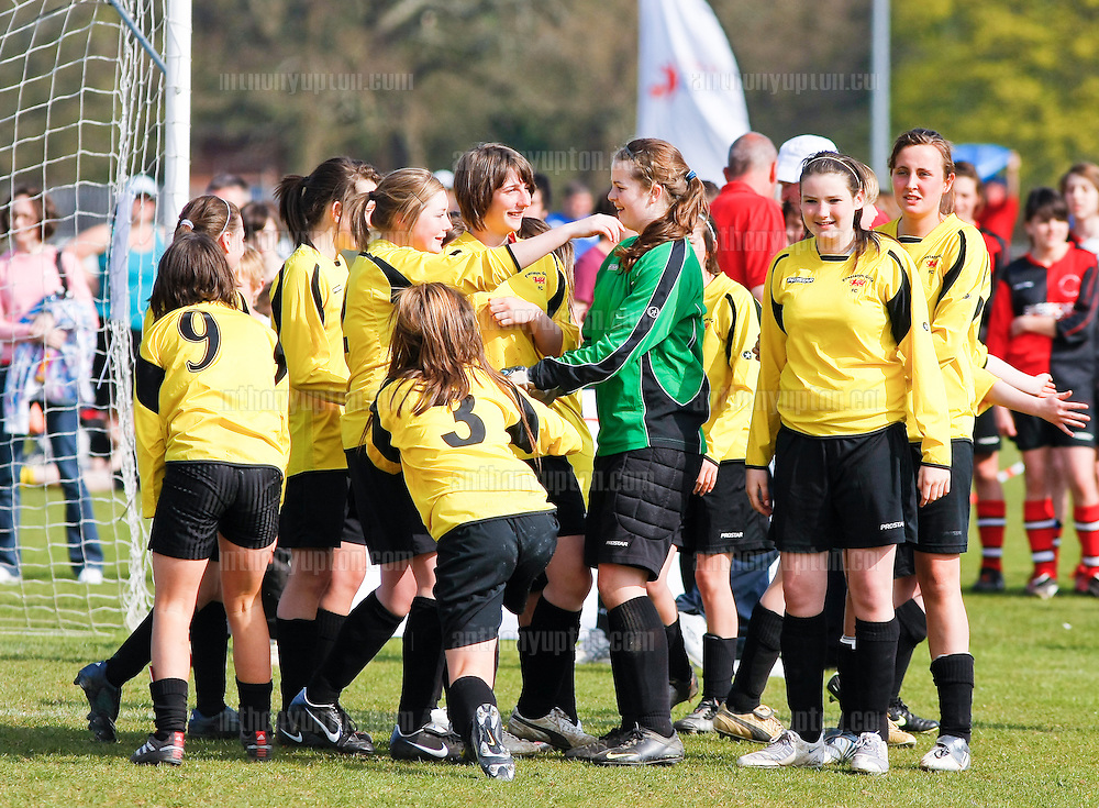 20100418                 Copyright image 2010©.Prestatyn Girls FC U16, celebrate their win in the Wales Final.Tesco Football Cup  - Wales.Mandatory Credit Ant Upton otherwise additional charges will apply..For photographic enquiries please call Anthony Upton 07973 830 517 or email info@anthonyupton.com .This image is copyright Anthony Upton 2010©..This image has been supplied by Anthony Upton and must be credited Anthony Upton. The author is asserting his full Moral rights in relation to the publication of this image. All rights reserved. Rights for onward transmission of any image or file is not granted or implied. Changing or deleting Copyright information is illegal as specified in the Copyright, Design and Patents Act 1988. If you are in any way unsure of your right to publish this image please contact Anthony Upton on +44(0)7973 830 517 or email: