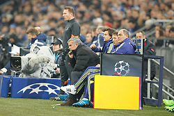 "25.11.2014, Veltins Arena, Gelsenkirchen, GER, UEFA Euro Qualifikation, Schalke 04 vs FC Chelsea, Gruppe G, im Bild Headcoach Jose ""the special one"" Mourinho (FC Chelsea) on the substitution bench // during the UEFA Champions League group G match between Schalke 04 and Chelsea FC at the Veltins Arena in Gelsenkirchen, Germany on 2014/11/25. EXPA Pictures © 2014, PhotoCredit: EXPA/ Eibner-Pressefoto/ Schueler<br /> <br /> *****ATTENTION - OUT of GER*****"