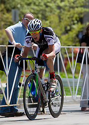 Spencer Beamer (Furman University) makes a solo break late in the race. The 2008 USA Cycling Collegiate National Championships Criterium men's division 2 event held in Fort Collins, CO on May 11, 2008.