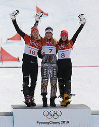 February 23, 2018 - PyeongChang, South Korea - (L-R) Silver medal winner SELINA JOERG of Germany, Gold medal winner ESTER LEDECKA of Czech Republic, and Bronze medal winner RAMONA THERESIA HOFMEISTER of Germany at Snowboard: Ladies' Parallel Giant Slalom Final at Phoenix Snow Park during the 2018 Pyeongchang Winter Olympic Games.(Credit Image: © Jon Gaede via ZUMA Wire)
