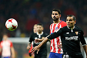 Atletico Madrid's Spanish forward Diego Costa vies for the ball during the Spanish Cup, Copa del Rey quarter final, 1st leg football match between Atletico Madrid and Sevilla FC on January 17, 2018 at Wanda Metropolitano stadium in Madrid, Spain - Photo Benjamin Cremel / ProSportsImages / DPPI