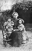 Marie Curie (1867-1934) Polish-born French physics, with her daughters Eve and Irene in 1908.