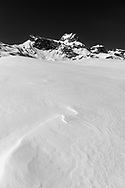 Snow drift and the peaks of the Schächentaler Windgällen, Muotathal, Schwyz, Switzerland