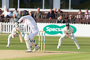 Wayne Madsen edges Muhammad Abbas to slip during the Specsavers County Champ Div 2 match between Leicestershire County Cricket Club and Derbyshire County Cricket Club at the Fischer County Ground, Grace Road, Leicester, United Kingdom on 28 May 2019.