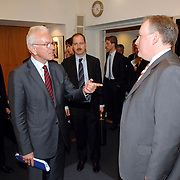 NLD/Den Haag/20070412 - Visit of Mr. Hans-Gert Pöttering, president of the European parliament to The Hague, meeting with Frans Timmermans, Minister for European Affairs..NLD/Den Haag/20070412 - President Europees Parlement Hans-Gert Pöttering bezoekt Den Haag, ontmoeting met Frans Timmermans.  ** foto + verplichte naamsvermelding Brunopress/Edwin Janssen  **