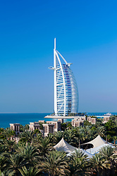 View of Burj al Arab hotel from Madinat Jumeirah hotels in Dubai in United Arab Emirates