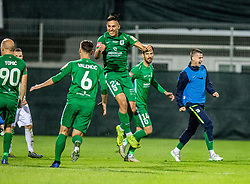 Kadric Haris of NK Olimpija Ljubljana and Valencic Vitja of NK Olimpija Ljubljana and Tomic Tomislav of NK Olimpija Ljubljana and Jurcevic Mario of NK Olimpija Ljubljana celebrate during a football game between NK Olimpija Ljubljana and NK Maribor in Final Round (18/19)  of Pokal Slovenije 2018/19, on 30th of May, 2014 in Arena Z'dezele, Ljubljana, Slovenia. Photo by Matic Ritonja / Sportida