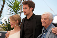 Alice Isaaz, Jonas Bloquet and director Paul Verhoeven at the Elle film photo call at the 69th Cannes Film Festival Saturday 21st May 2016, Cannes, France. Photography: Doreen Kennedy