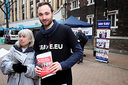 UK ENGLAND LONDON CROYDON 16APR16 - Volunteer campaigners Chris Mendes (30,R) and KathleenGarner at the stall of the Vote Leave campaign on the Croydon high street in south London.<br /> <br /> <br /> <br /> jre/Photo by Jiri Rezac<br /> <br /> <br /> <br /> &copy; Jiri Rezac 2016