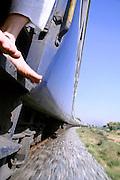 perspectie view of speeding train, india