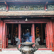 Main entrance at the Temple of the Jade Mountain (Ngoc Son Temple) on Hoan Kiem Lake in the heart of Hanoi's Old Quarter. The temple was established on the small Jade Island near the northern shore of the lake in the 18th century and is in honor of the 13-century military leader Tran Hung Dao.