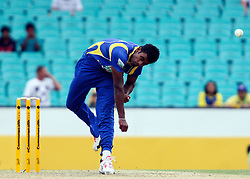 © Licensed to London News Pictures. 17/02/2012. Sydney Cricket Ground, Australia. Sri Lankan bowler Thisara Perera bowling during the One Day International cricket match between Australia Vs Sri Lanka. Photo credit : Asanka Brendon Ratnayake/LNP