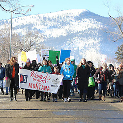 Lisa Bullock (center with black jacket) First Lady of Montana walked with her family at the head of the Women's March on Montana Saturday in Helena.
