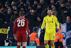 LIVERPOOL, ENGLAND - Tuesday, December 11, 2018: Liverpool's goalkeeper Alisson Becker celebrates after beating SSC Napoli 1-0 and progressing to the knock-out phase during the UEFA Champions League Group C match between Liverpool FC and SSC Napoli at Anfield. (Pic by David Rawcliffe/Propaganda)