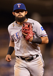 June 12, 2018 - Los Angeles, CA, U.S. - LOS ANGELES, CA - JUNE 12: Texas Rangers second baseman Rougned Odor (12) looks to the crowd as he heads to the dug out during the game between the Texas Rangers and the Los Angeles Dodgers on June 12, 2018, at Dodger Stadium in Los Angeles, CA. (Photo by David Dennis/Icon Sportswire) (Credit Image: © David Dennis/Icon SMI via ZUMA Press)