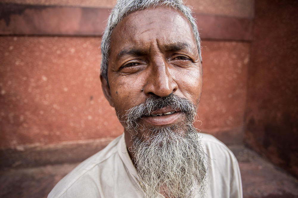 Indian Muslim man outside of Jama Masjid, Delhi, India. <br /> Photo by Lorenz Berna