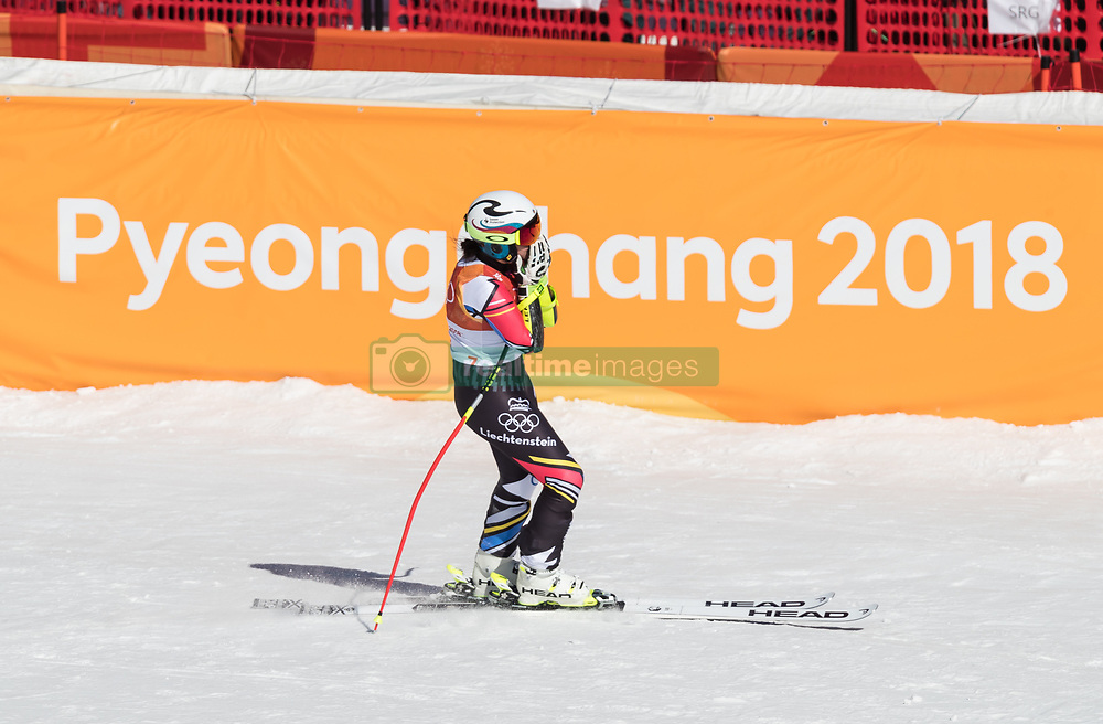 February 17, 2018 - PyeongChang, South Korea -  TINA WEIRATHER of Liechtenstein during Alpine Skiing: Ladies Super-G at Jeongseon Alpine Centre at the 2018 Pyeongchang Winter Olympic Games. (Credit Image: © Patrice Lapointe via ZUMA Wire)