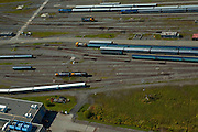 Aerial view of Train Yard in Montreal, Canada