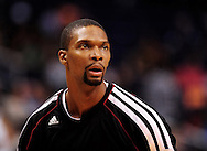Nov. 17, 2012; Phoenix, AZ, USA; Miami Heat center Chris Bosh (1) warms up prior  to the game against the Phoenix Suns at US Airways Center. The Heat defeated the Suns 97-88. Mandatory Credit: Jennifer Stewart-US PRESSWIRE