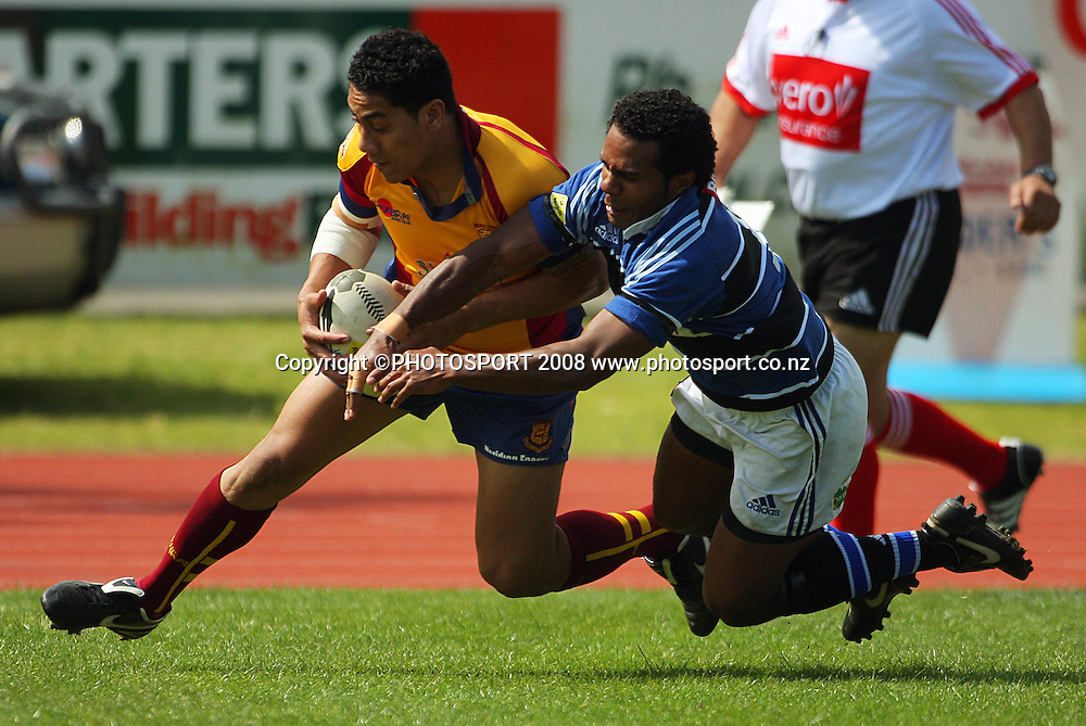 Ofa Fatai beats Johnny Mow to the ball over the line.<br /> AA Rewards Heartland Championship. Wanaganui v North Otago at Cooks Gardens, Wanganui. Saturday, 11 October 2008. Photo: Dave Lintott/PHOTOSPORT