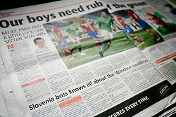 Newspaper Belfast Telegraph before EURO 2012 Quaifications game between National teams of Slovenia and Northern Ireland, on March 29, 2011, Belfast, Northern Ireland, United Kingdom. (Photo by Vid Ponikvar / Sportida)