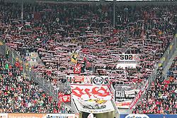 27.04.2013, SGL Arena, Augsburg, GER, 1. FBL, FC Augsburg vs VfB Stuttgart, 31. Runde, im Bild Fans (VfB Stuttgart) // during the German Bundesliga 31 th round match between FC Augsburg and VfB Stuttgart at the SGL Arena, Augsburg, Germany on 2013/04/27. EXPA Pictures © 2013, PhotoCredit: EXPA/ Eibner/ Kolbert..***** ATTENTION - OUT OF GER *****