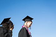 Cal Hills Class of 2012 senior Christina Bruce waits by the stage to receive her diploma at graduation on June 15, 2012.  Photo by Stan Olszewski/SOSKIphoto.