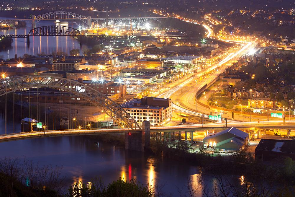 Warehouses on Chateau neighborhood and bridges over the Ohio River, Pittsburgh, Pennsylvania, USA