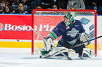 KELOWNA, CANADA - APRIL 26: Carl Stankowski #1 of the Seattle Thunderbirds deflects a shot against the Kelowna Rockets on April 26, 2017 at Prospera Place in Kelowna, British Columbia, Canada.  (Photo by Marissa Baecker/Shoot the Breeze)  *** Local Caption ***