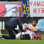 Tim Cahill, (centre), New York Red Bulls, injured as the Red Bulls  trainer check on Cahill. Cahill left the match in the 27th minute during the New York Red Bulls V Chivas USA, Major League Soccer regular season match at Red Bull Arena, Harrison, New Jersey. USA. 30th March 2014. Photo Tim Clayton