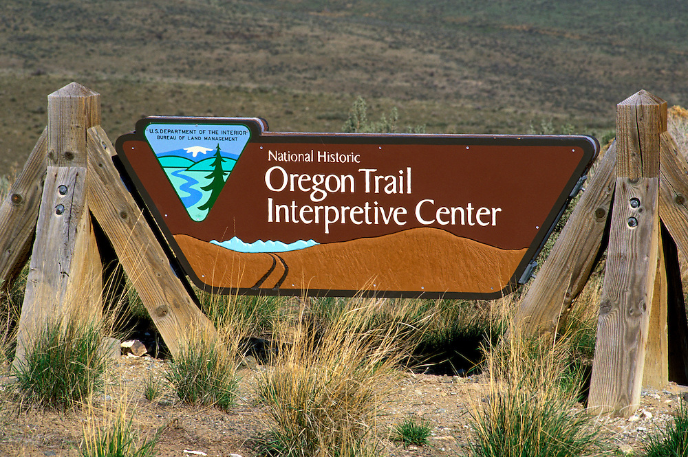 Entrance sign at the National Historic Oregon Trail Interpretive Center, Baker City, Oregon