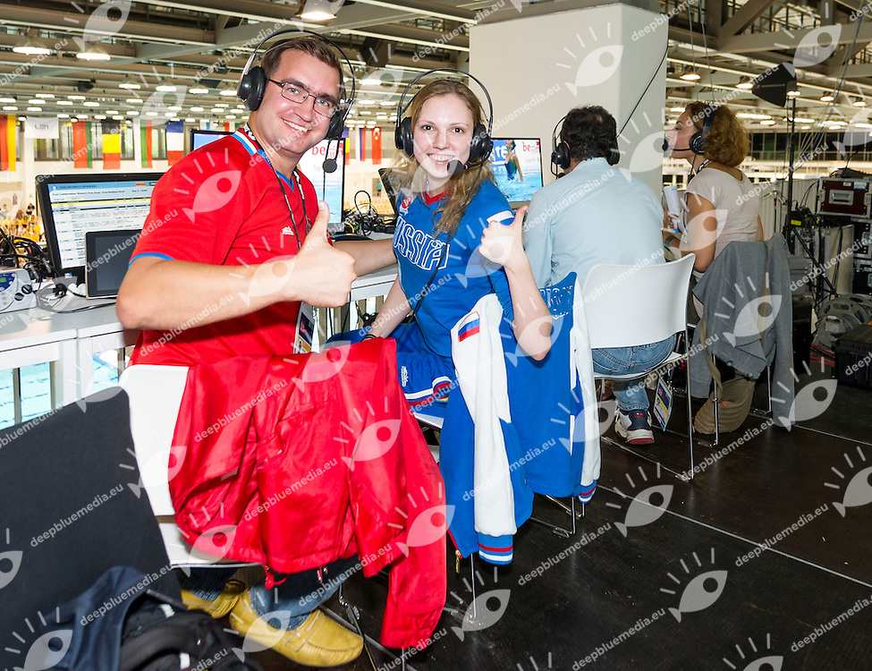 Venues<br /> From Sx to Dx<br /> Andrew Simonov<br /> Svetlana Kolisnichenko<br /> 32nd LEN European Championships <br /> Berlin, Germany 2014  Aug.13 th - Aug. 24 th<br /> Photo P. Mesiano/Deepbluemedia/Inside