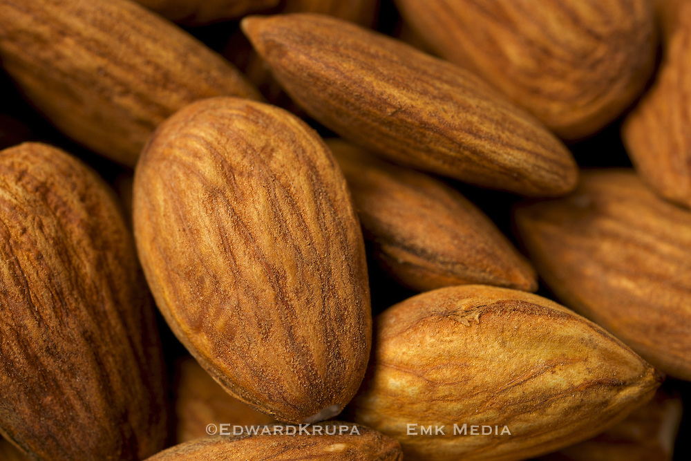 Close up of some raw almonds.