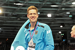 20.08.2014, Europa Sportpark, Berlin, GER, LEN, Schwimm EM 2014, 200m, Lagen, Männer, Podium, im Bild Philip Heintz (Deutschland) mit Silber // celebrates on Podium after the men's 200m individual medley of the LEN 2014 European Swimming Championships at the Europa Sportpark in Berlin, Germany on 2014/08/20. EXPA Pictures © 2014, PhotoCredit: EXPA/ Eibner-Pressefoto/ Lau<br /> <br /> *****ATTENTION - OUT of GER*****