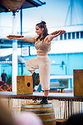 Wellington, NZ. 16 March 2015. Streets of Gold, performed under the sails, on Queens Wharf, by Java Dance Company. Part of the Capital E National Arts Festival, March 2015. Photo credit: Stephen A'Court. COPYRIGHT: ©Stephen A'Court