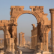 Monumental arch and colonnade street, Palmyra ruins