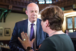 © Licensed to London News Pictures. 31/05/2017. Cambridge, UK. Secretary of State for Work and Pensions Damian Green (L) debates with Shadow Foreign Secretary Emily Thornberry (R) in the spin room at Cambridge University Union after the BBC General Election Debate. Photo credit: Rob Pinney/LNP