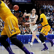 Breanna Stewart, UConn, in action during the UConn Huskies Vs East Carolina Pirates Quarter Final match at the  2016 American Athletic Conference Championships. Mohegan Sun Arena, Uncasville, Connecticut, USA. 5th March 2016. Photo Tim Clayton