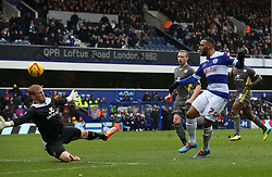 Queen Park Rangers' Matt Phillips chips over Leicester City's Kasper Schmeichel but doesn't score - Photo mandatory by-line: Robin White/JMP - Tel: Mobile: 07966 386802 21/12/2013 - SPORT - FOOTBALL - Loftus Road - London - Queens Park Rangers v Leicester City - Sky Bet Championship