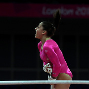 Jordyn Wieber, USA, in action on the uneven bars during the Women's Artistic Gymnastics podium training at North Greenwich Arena during the London 2012 Olympic games preparation at the London Olympics. London, UK. 26th July 2012. Photo Tim Clayton