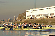 Putney, Great Britain,  Both Crews racing along the Fulham Wall approaching, Craven Cottage,  shirts on the left who went on the win Oxford University Trial Eights, beating Skins. During the trial over the championship course Putney to Mortlake. 12/12/2007 [Mandatory Credit Peter Spurrier/Intersport Images]..OUBC Crews:.Shirts, Bow Robin EJSMOND-FREY, 2. Martin WALSH, 3. Ben SMITH, 4. Oliver MOORE, 5. Andrew WRIGHT, 6. Aaron MARCOVY, 7. Charles COLE, stroke Justin STANGEL and Cox Colin GROSHONG...Skins: Bow Paul KELLY, 2. James SOANE, 3. Michal PLOTKOWIAK, 4. Chris MORRIS, 5. Michael WHERLEY 6. Toby MEDARIS, 7.Jan HERZOG, stroke Will ENGLAND and cox Nick BRODIE,.. Varsity Boat Race, Rowing Course: River Thames, Championship course, Putney to Mortlake 4.25 Miles,