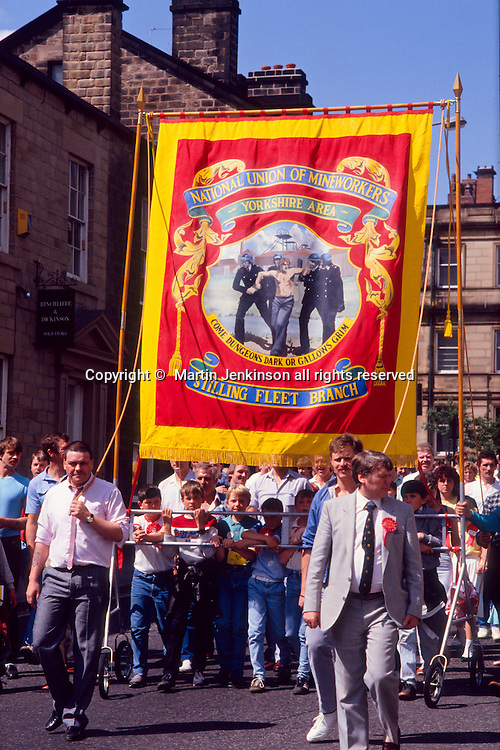 Stillingfleet Branch NUM banner on the Yorkshire miners 100th gala, Barnsley. 20-06-1987.
